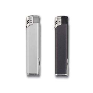 Encendedor Electrónico Metalizado Plata y Grafito