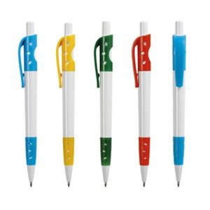 Bolígrafo plástico bicolor agarre gomoso