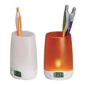Portalápices Con Luz y Reloj Digital